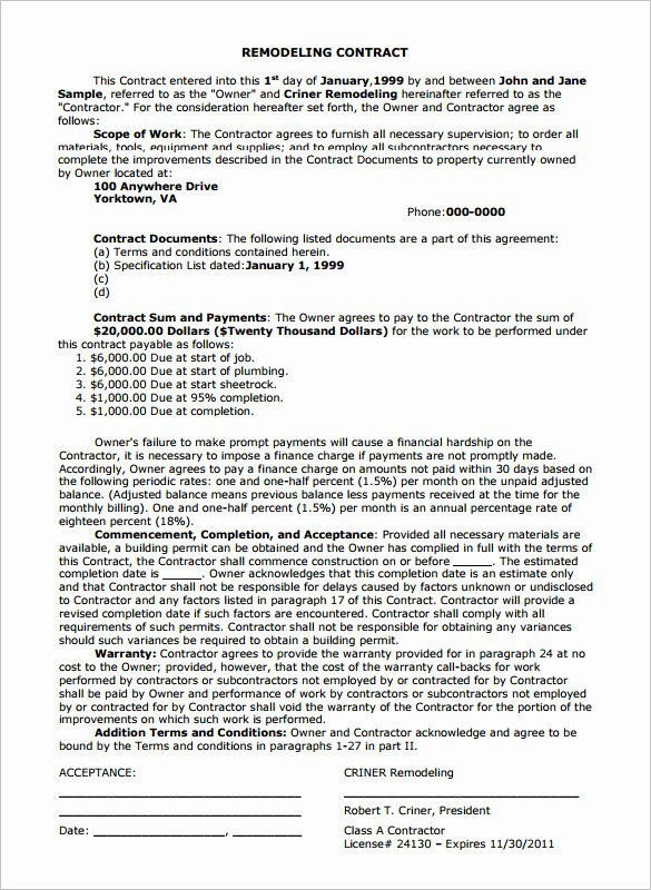 Home Improvement Contract Template Elegant Home Remodeling Contract 7 Download Documents In Pdf