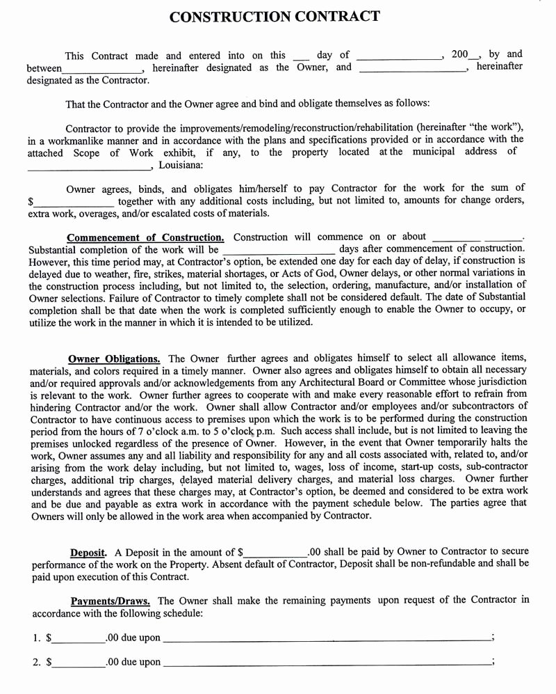 Home Improvement Contract Template Fresh Construction Pany Contract Template Sample Construction Contract