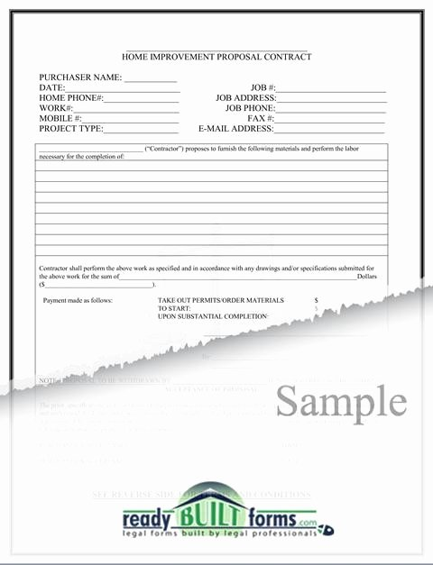 Home Improvement Contract Template Inspirational Free Printable Home Improvement Contract form Generic