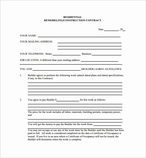 Home Improvement Contract Template New 9 Home Remodeling Contract Templates Word Pages Docs