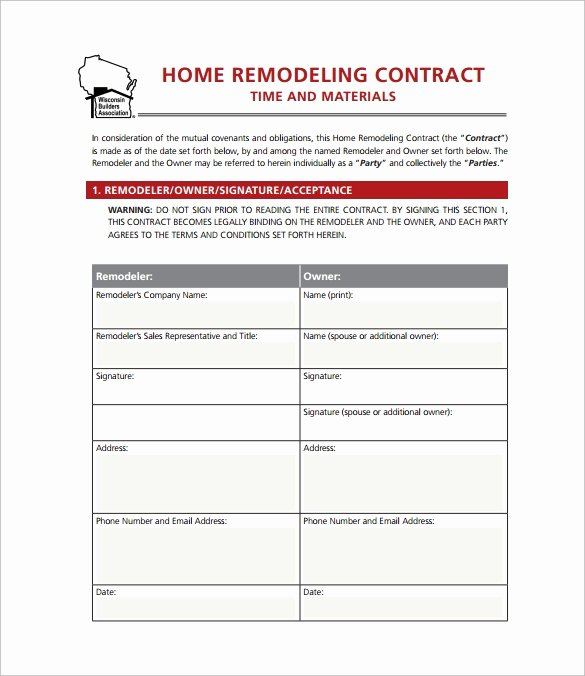 Home Improvement Contract Template Unique 9 Home Remodeling Contract Templates Word Pages Docs