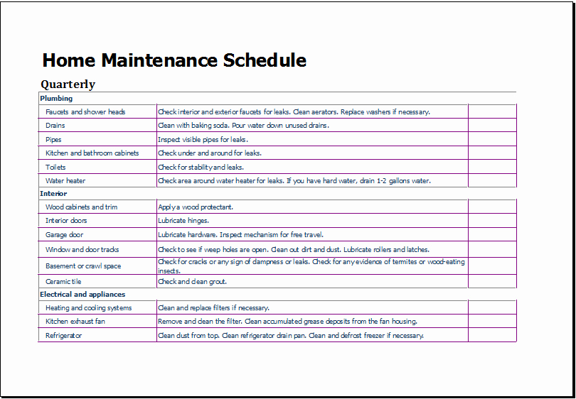 Home Maintenance Schedule Spreadsheet Elegant Home Maintenance Schedule Template for Excel