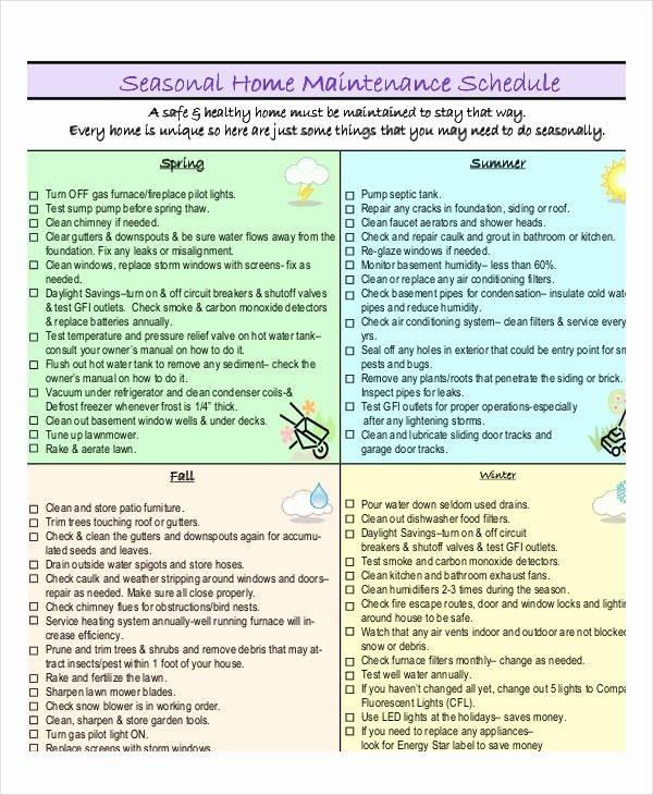 Home Maintenance Schedule Spreadsheet Inspirational Home Maintenance Schedule Template 7 Free Pdf Word format Download