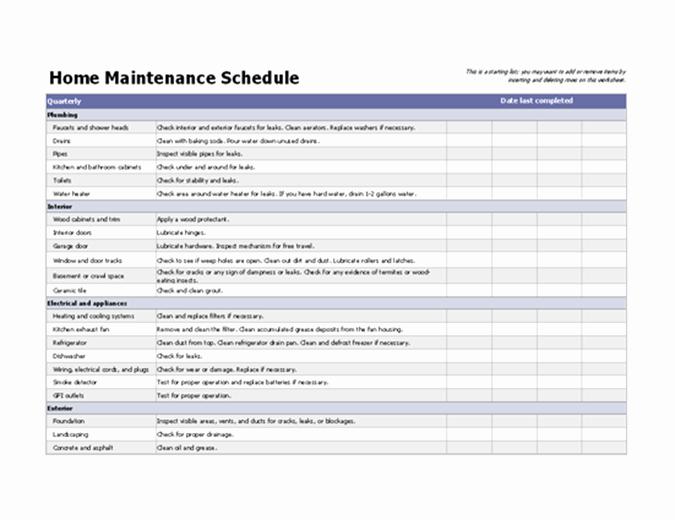 Home Maintenance Schedule Spreadsheet Lovely Home Maintenance Schedule