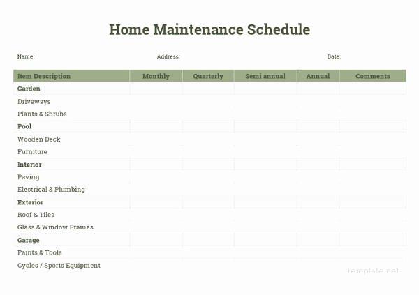 Home Maintenance Schedule Spreadsheet New Home Maintenance Schedule Spreadsheet