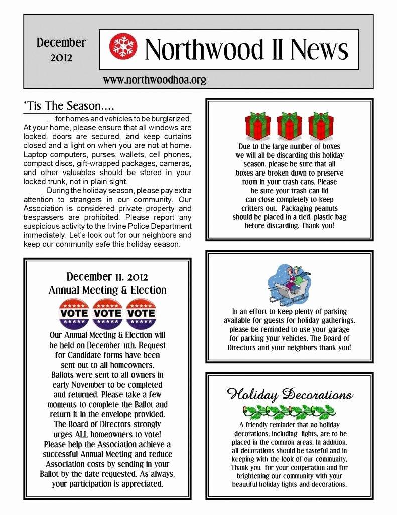 Homeowners association Newsletter Template Awesome December 2012 – northwood Ii Nwii Hoa Munity association Newsletter – Irvine Ca