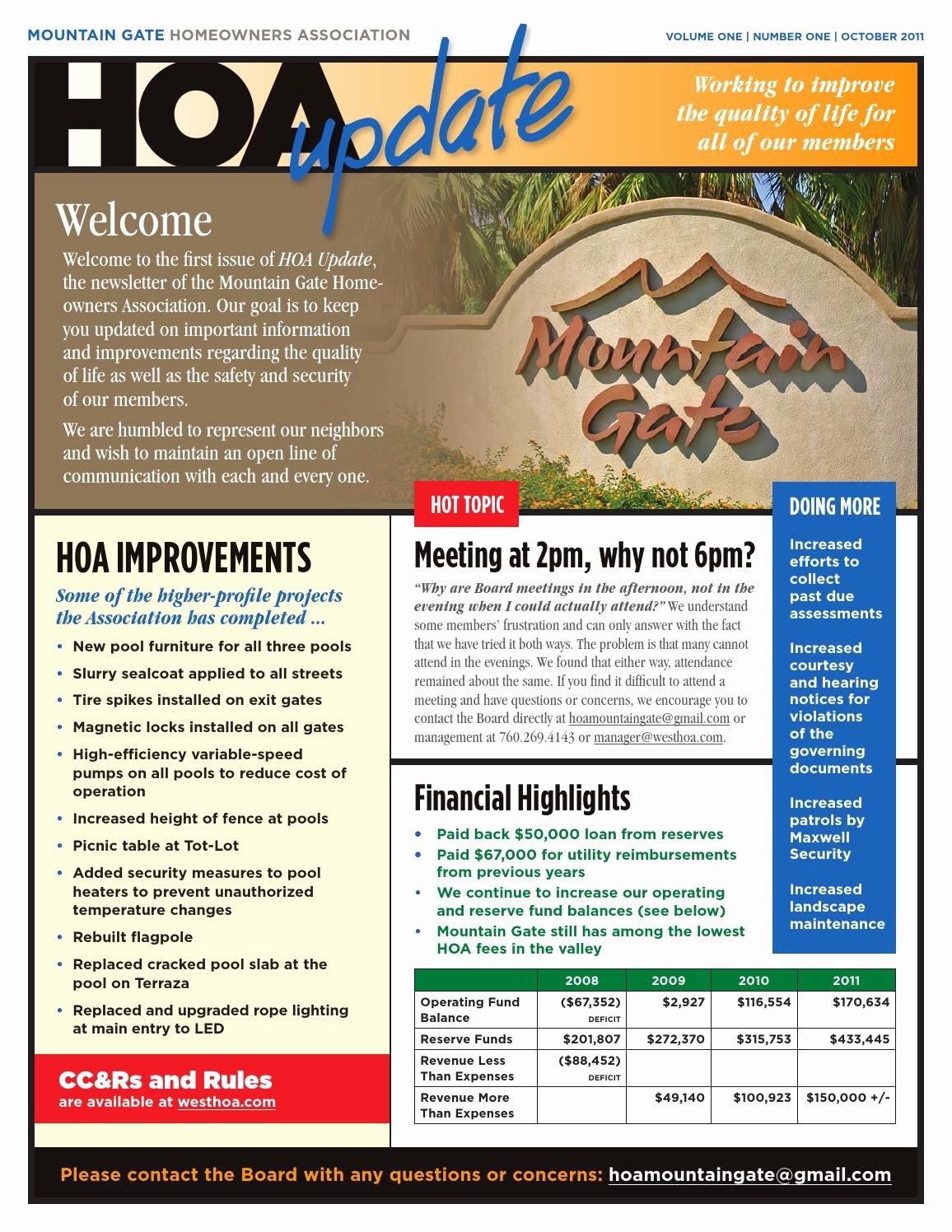 Homeowners association Newsletter Template Best Of Mountain Gate Hoa
