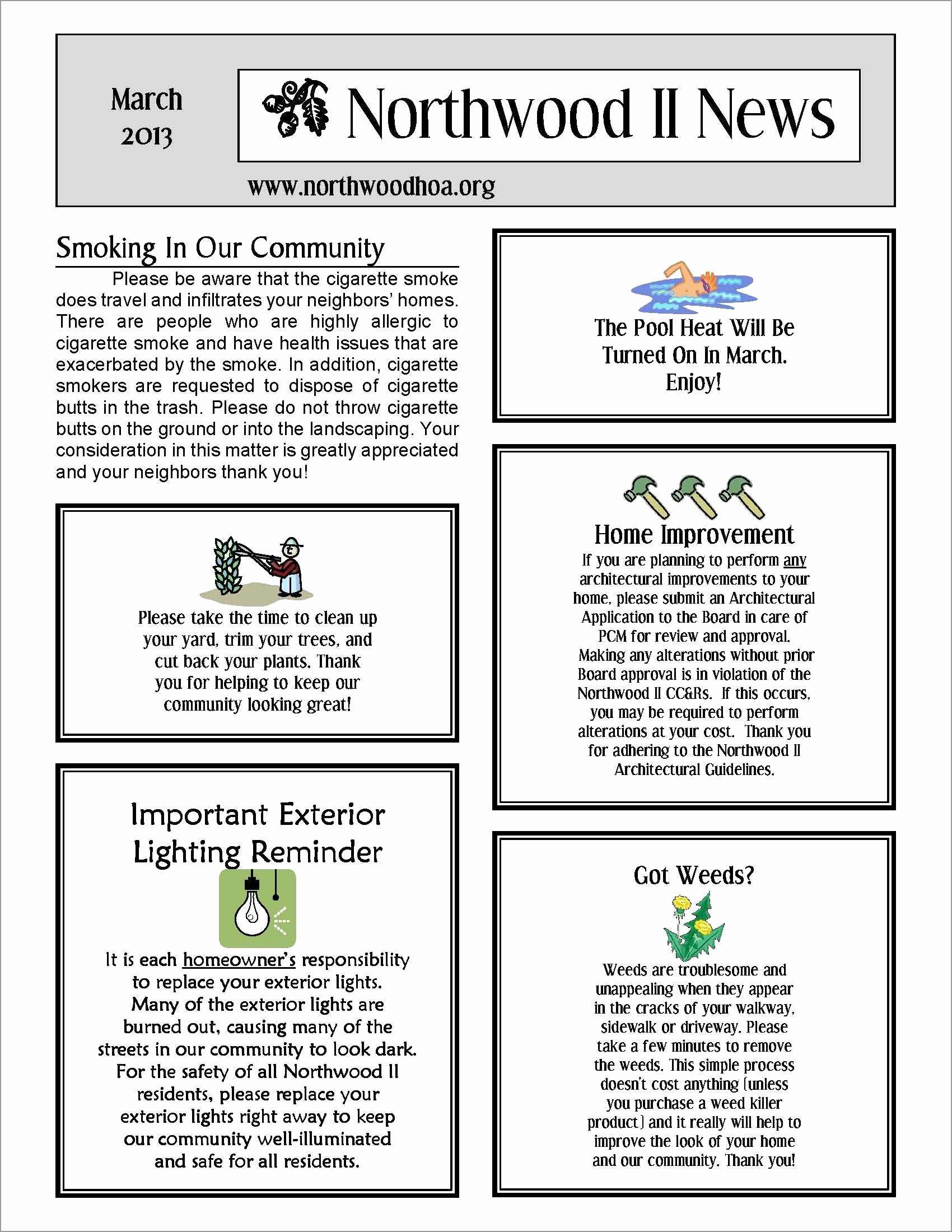 Homeowners association Newsletter Template Fresh Fresh Free Hoa Newsletter Templates