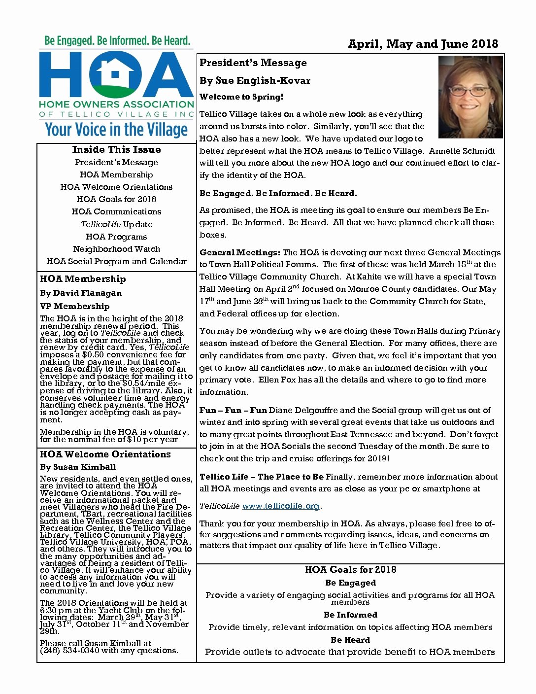 Homeowners association Newsletter Template Fresh Tellico Village Homeowners association – Be Informed – Be Engaged – Be Heard