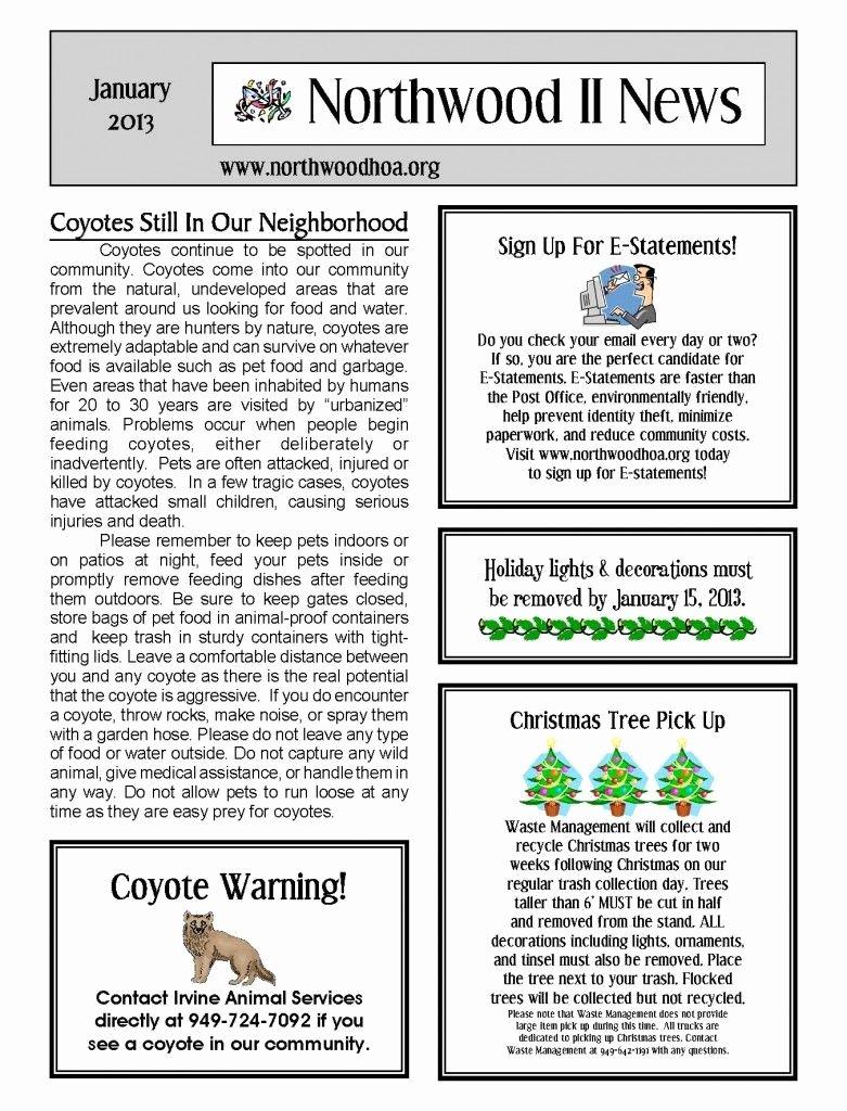 Homeowners association Newsletter Template Luxury January 2013 – northwood Ii Nwii Hoa Munity association Newsletter – Irvine Ca
