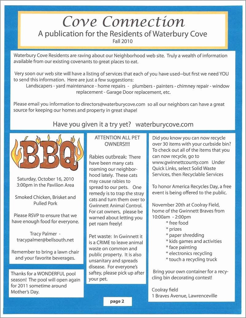 Homeowners association Newsletter Template Unique Fresh Free Hoa Newsletter Templates