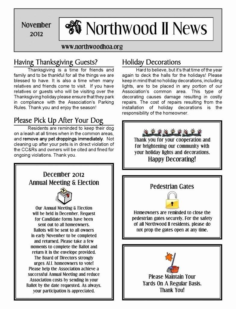 Homeowners association Newsletter Template Unique November 2012 – northwood Ii Nwii Hoa Munity association Newsletter – Irvine Ca