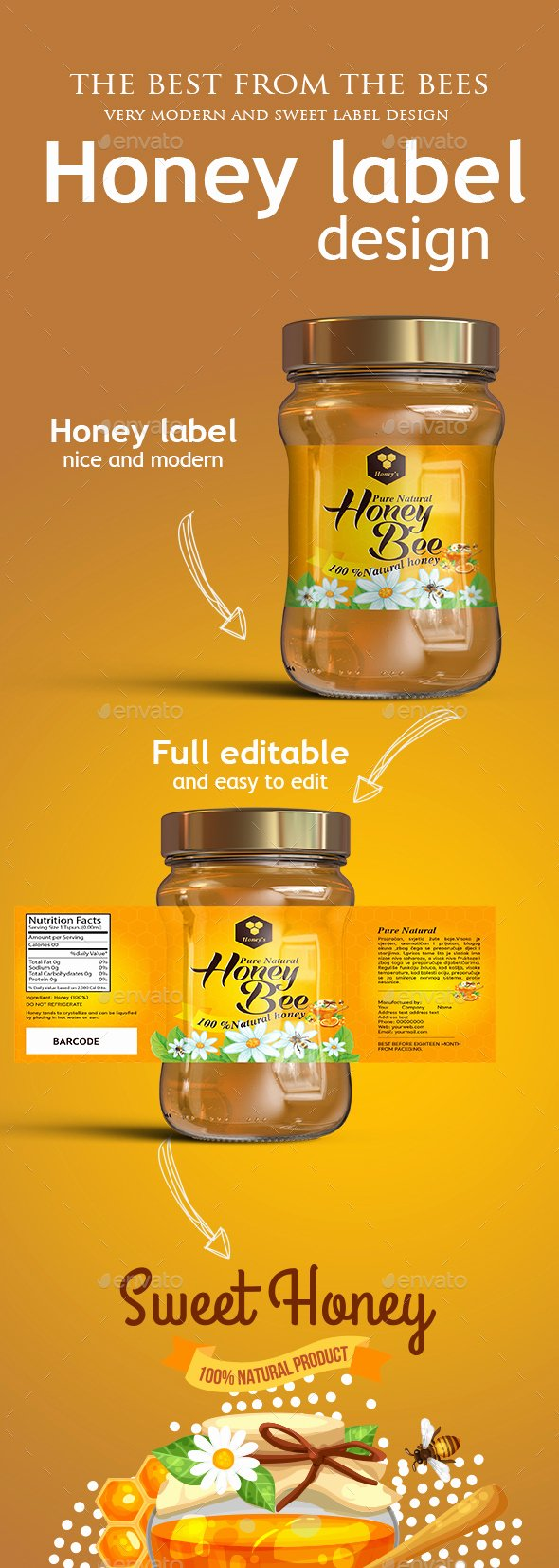 Honey Jar Labels Printable Beautiful Honey Label Template by Muamer24
