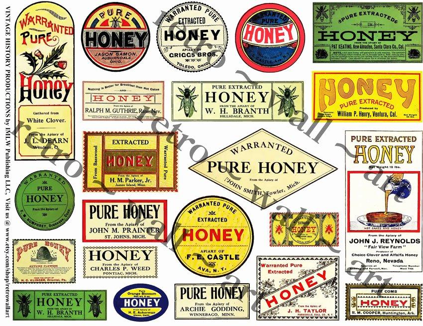 Honey Jar Labels Printable Fresh Stickers Antique Honey Labels Kitchen Clip Art Collage Clipart