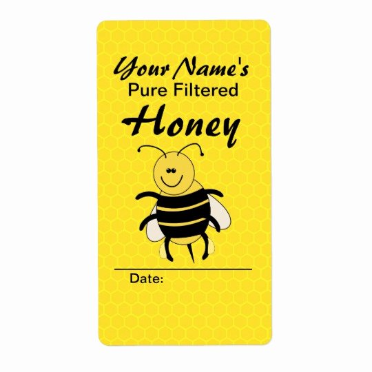 Honey Jar Labels Template Beautiful Cute Honey Bee Custom Name Honey Labels for Jar