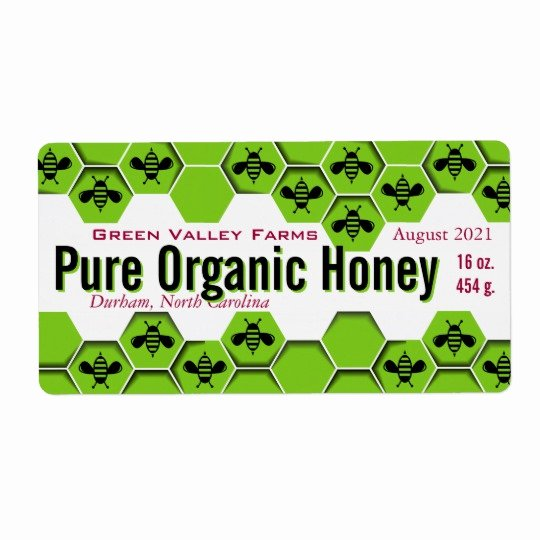 Honey Jar Labels Template Best Of Pure organic Honey Jar Personalized Label