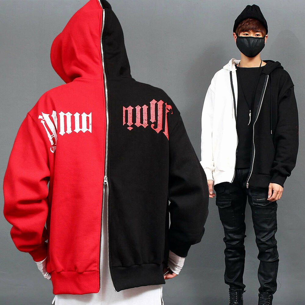 Hoodie Front and Back Elegant Men S Fashion Contrast Half Color Printing Front Back Zip Up Hoo Gentlershop