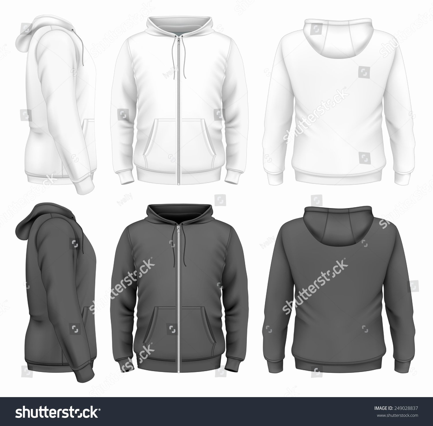 Hoodie Front and Back Elegant Mens Zip Hoo White Black Design Stock Vector Shutterstock