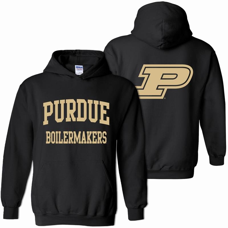 Hoodie Front and Back Inspirational Purdue Front Back Print Hoo Black Underground Printing