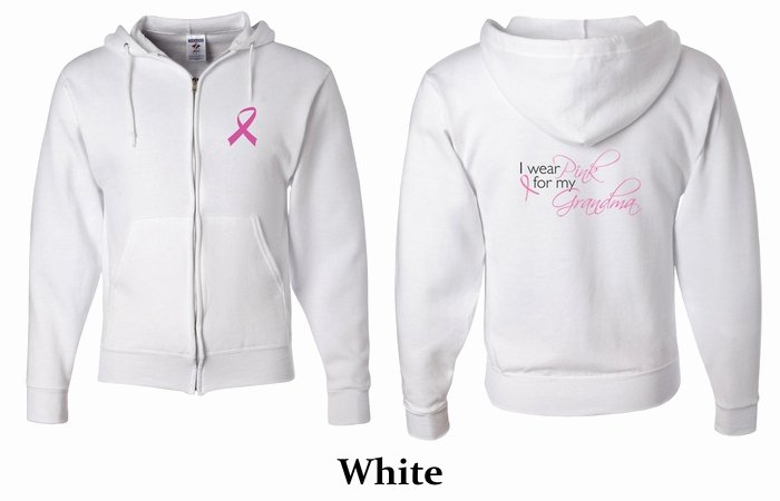 Hoodie Front and Back Lovely Mens Hoo Pink Ribbon for My Grandma Front & Back Full Zip Hoody Breast Cancer Awareness T
