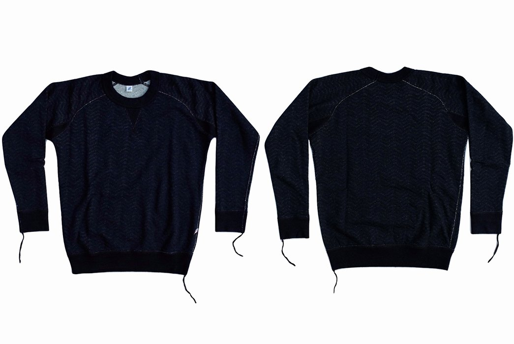 Hoodie Front and Back Luxury Pure Blue Japan Indigo Herringbone Crewneck Sweatshirt