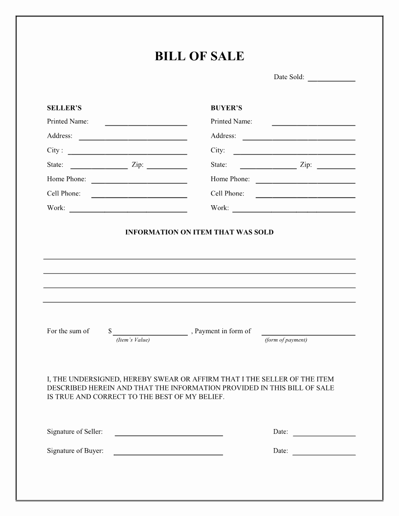 Horse Bill Of Sale form Beautiful Best S Of Easy Printable Bill Sale Free Printable Blank Bill Of Sale form Printable