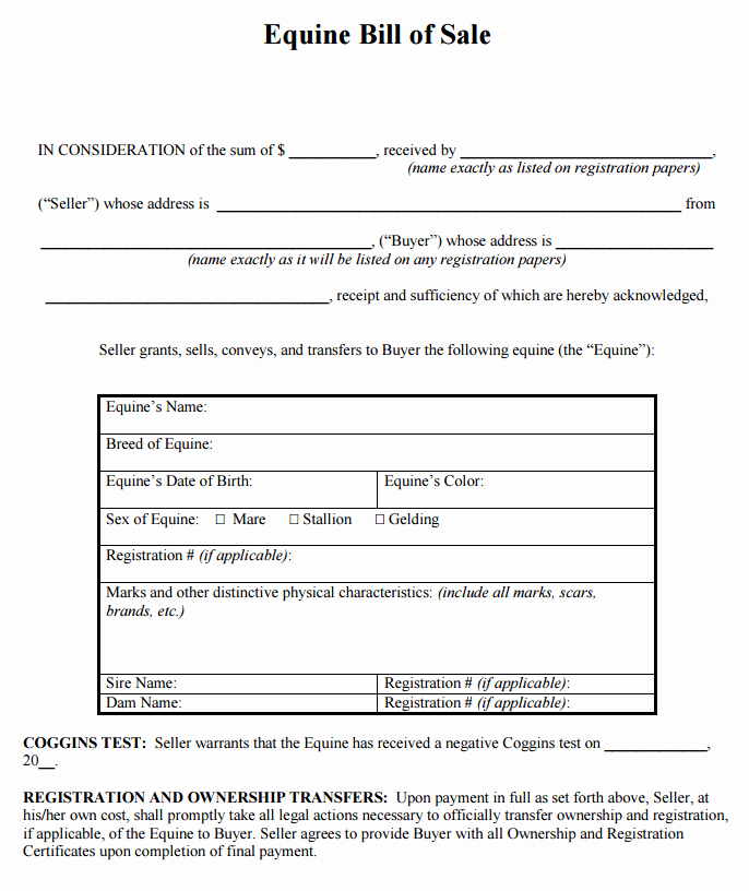 Horse Bill Of Sale form Inspirational Download Free Georgia Equine Bill Sale form