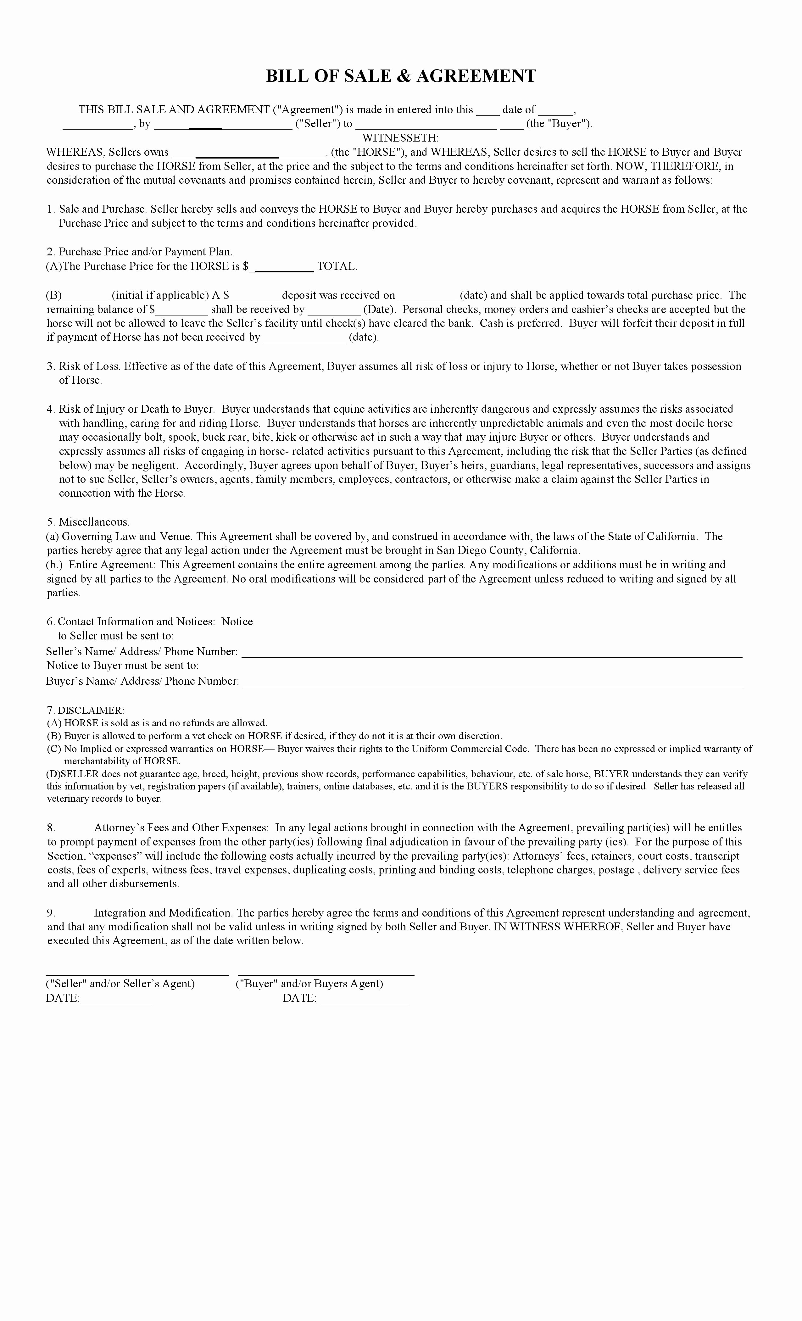 Horse Bill Of Sale form New Free California Horse Bill Of Sale & Agreement Template Pdf