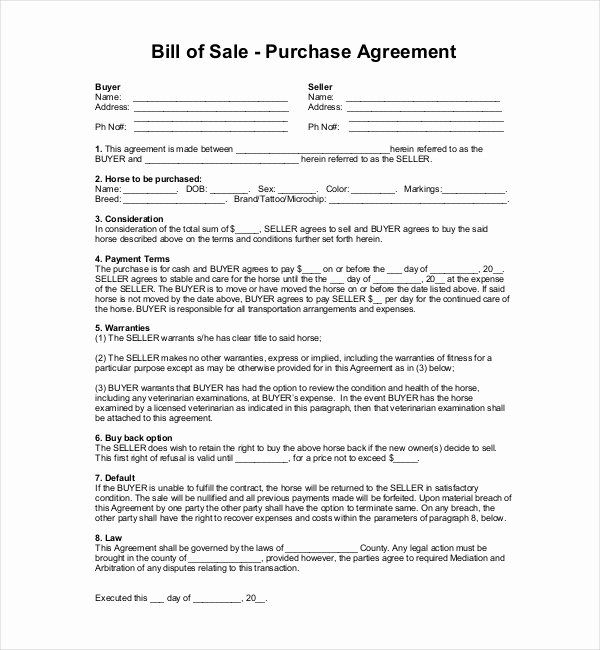 Horse Bill Of Sale forms Unique Horse Bill Of Sale with First Right Of Refusal 12 New