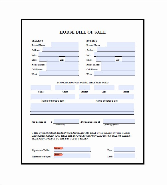 Horse Bill Of Sale Pdf New Horse Bill Of Sale 9 Free Word Excel Pdf format Download