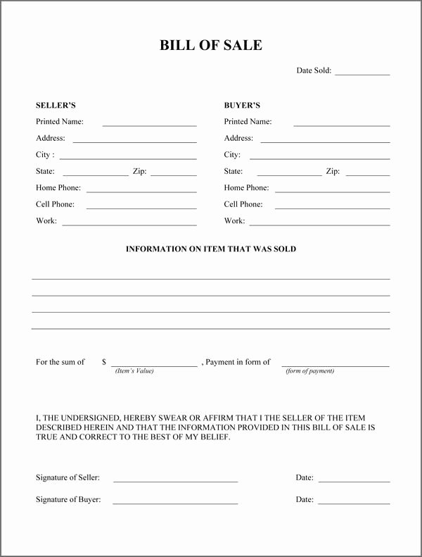 Horse Bill Of Sale Template New Free Printable Rv Bill Of Sale form form Generic
