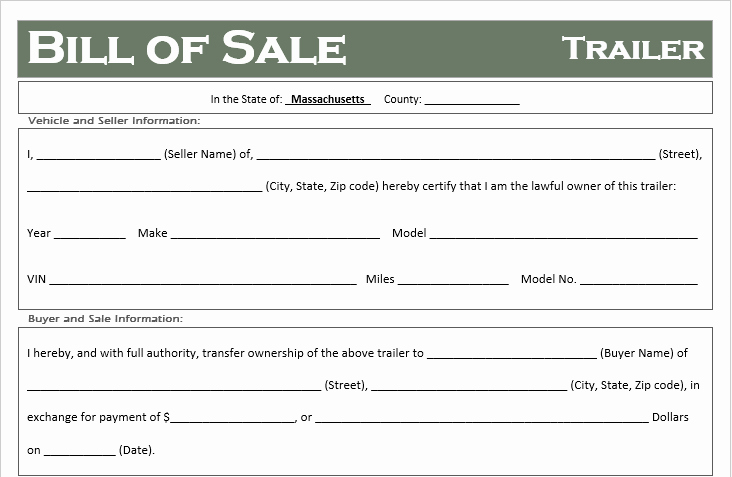 Horse Trailer Bill Of Sale Awesome Free Massachusetts Trailer Bill Of Sale Template F Road Freedom