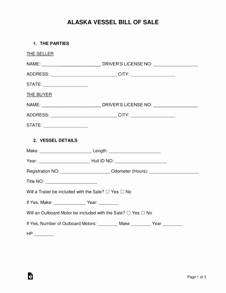 Horse Trailer Bill Of Sale Beautiful Free Alaska Vessel Bill Of Sale form Word Pdf