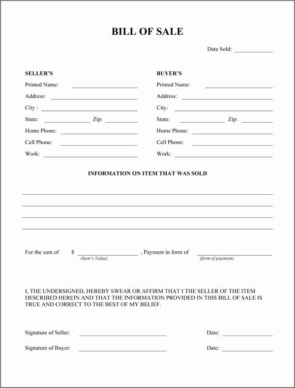Horse Trailer Bill Of Sale Elegant Free Printable Rv Bill Of Sale form form Generic