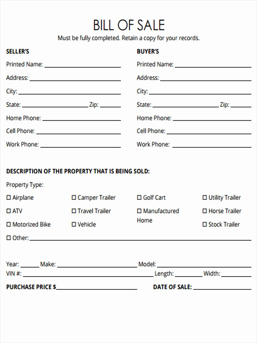Horse Trailer Bill Of Sale Fresh Free 5 Horse Bill Of Sale forms In Samples Examples formats
