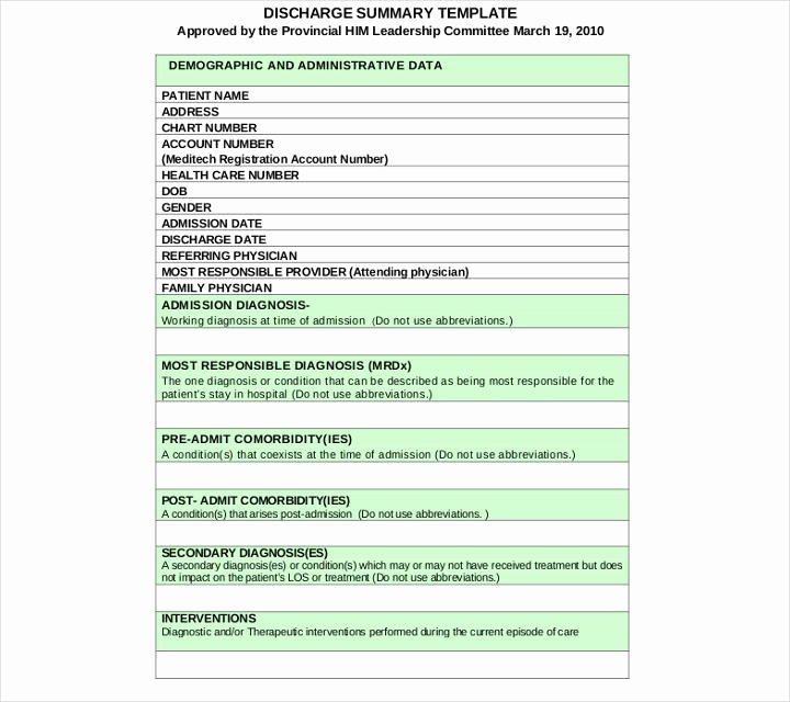 Hospital Discharge Summary Template Best Of 9 Discharge Summary Templates Pdf Doc