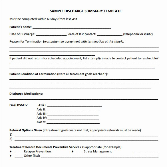 Hospital Discharge Summary Template Inspirational Discharge Summary Template 11 Free Samples Examples & formats