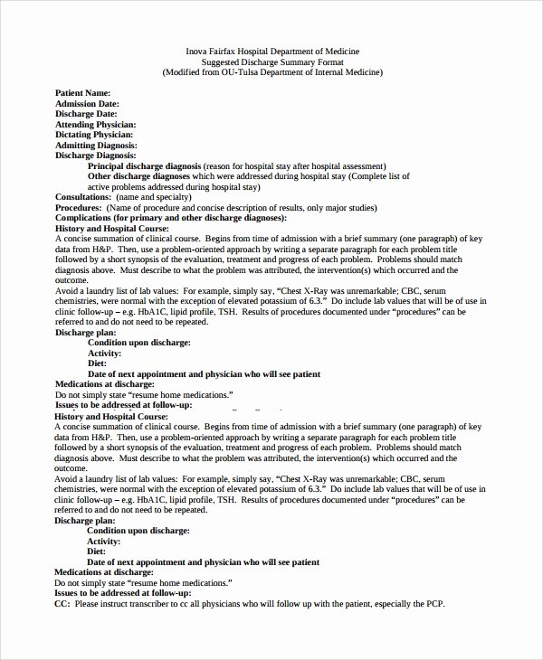 Hospital Discharge Summary Template Inspirational Sample Discharge Summary 13 Documents In Word Pdf