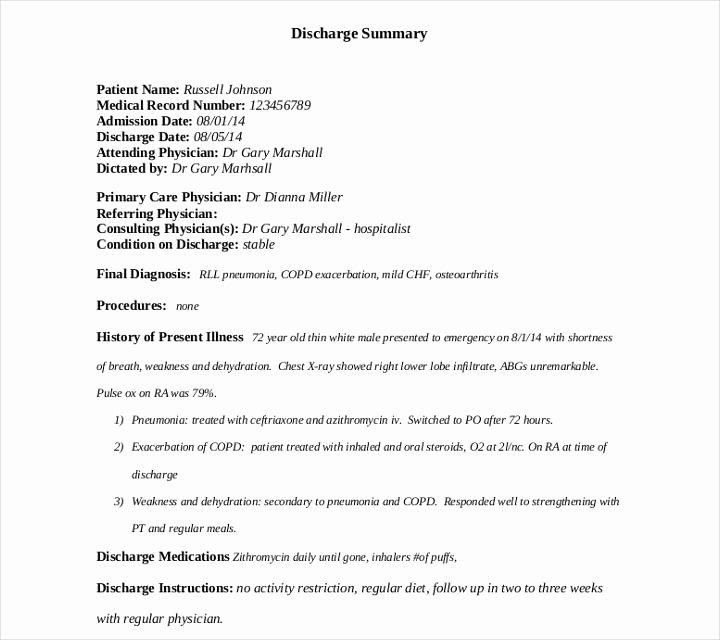 Hospital Discharge Summary Template Luxury 9 Discharge Summary Templates Pdf Doc