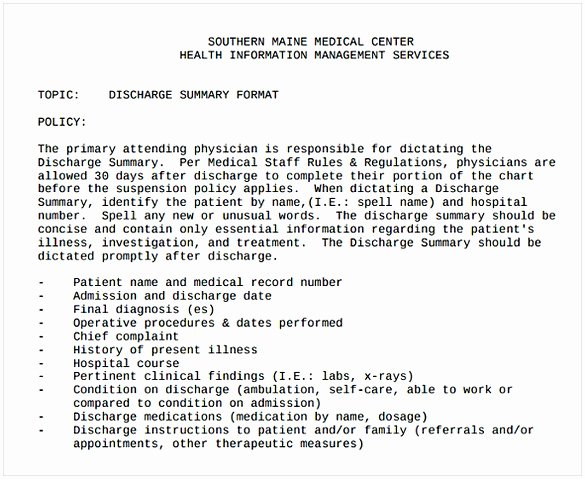 Hospital Discharge Summary Template Luxury Discharge Summary Template