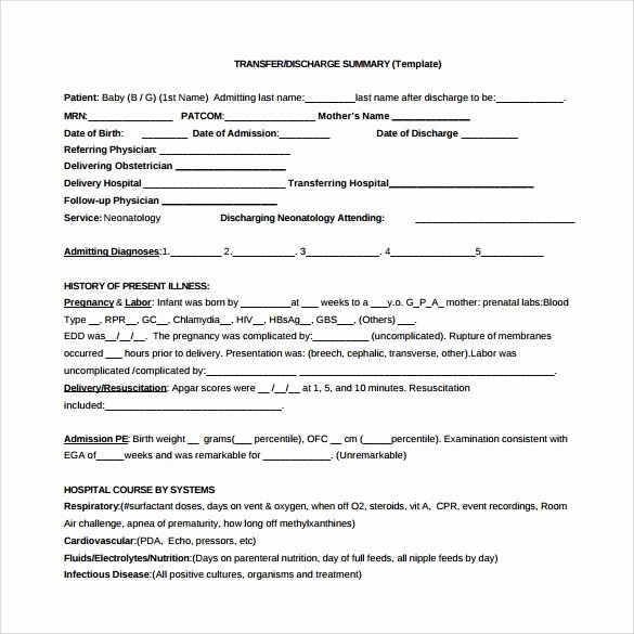 Hospital Discharge Summary Template Luxury Sample Discharge Summary 10 Documents In Pdf Word