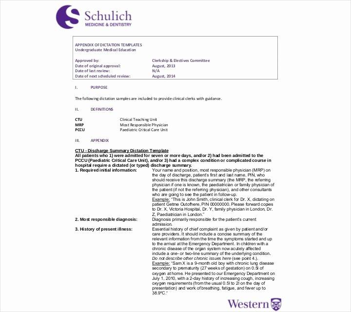 Hospital Discharge Summary Template New 27 Sample Summary Templates Pdf Doc