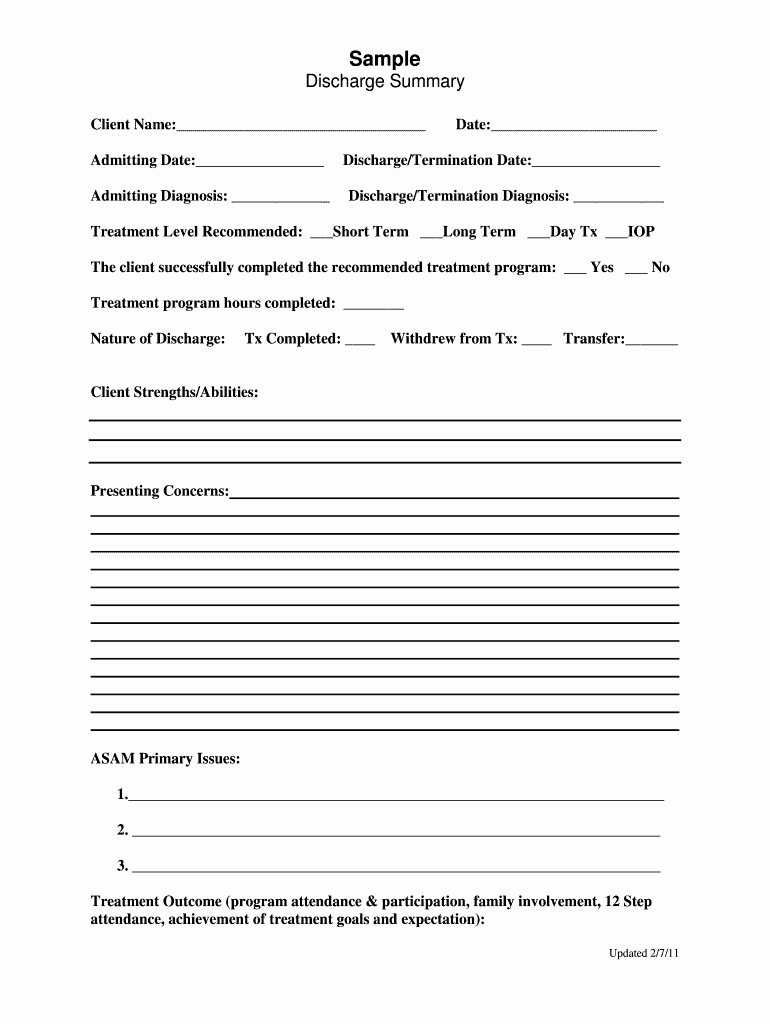Hospital Discharge Summary Template New Discharge Summary form Fill Line Printable Fillable Blank