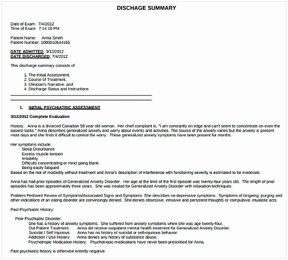Hospital Discharge Summary Template New Discharge Summary Template