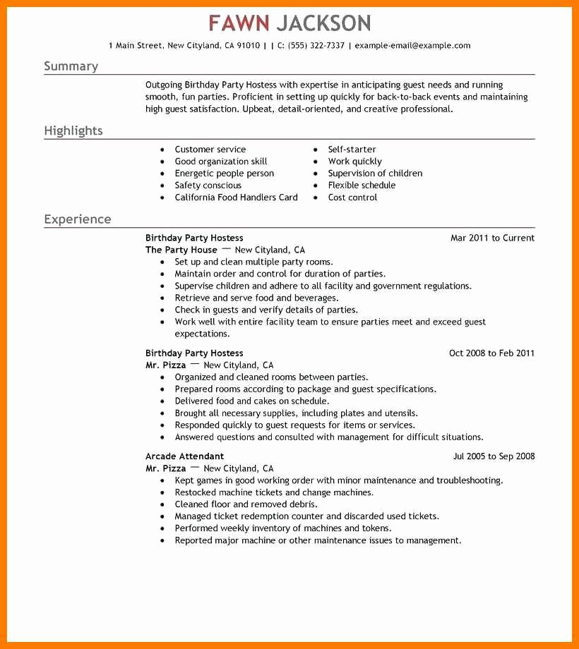 Hostess Job Description for Resume Beautiful 13 14 Party Host Job Description for Resume