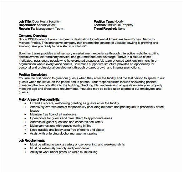 Hostess Job Description for Resume Beautiful Hostess Job Description Template 12 Free Word Pdf format Download