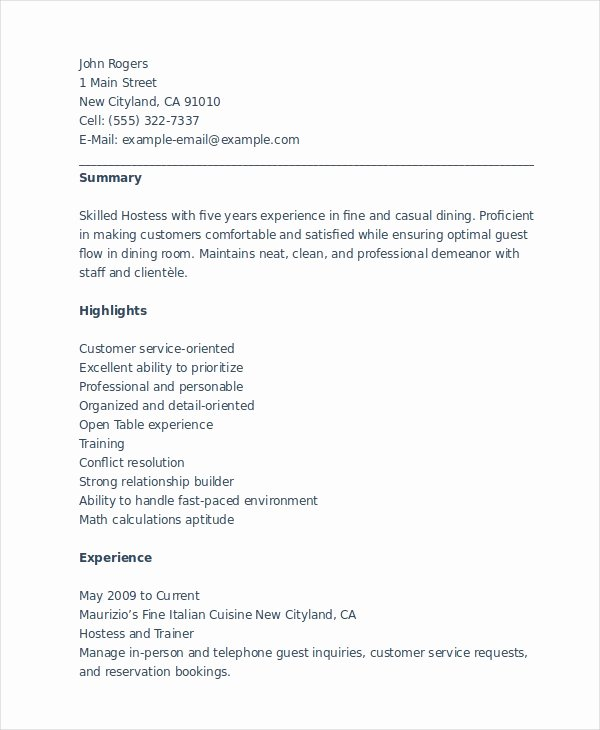 Hostess Job Description for Resume Best Of 6 Hostess Resume Templates Pdf Doc