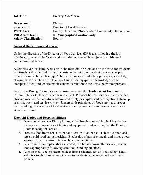Hostess Job Description for Resume Fresh Sample Dietary Aide Job Description 9 Examples In Pdf