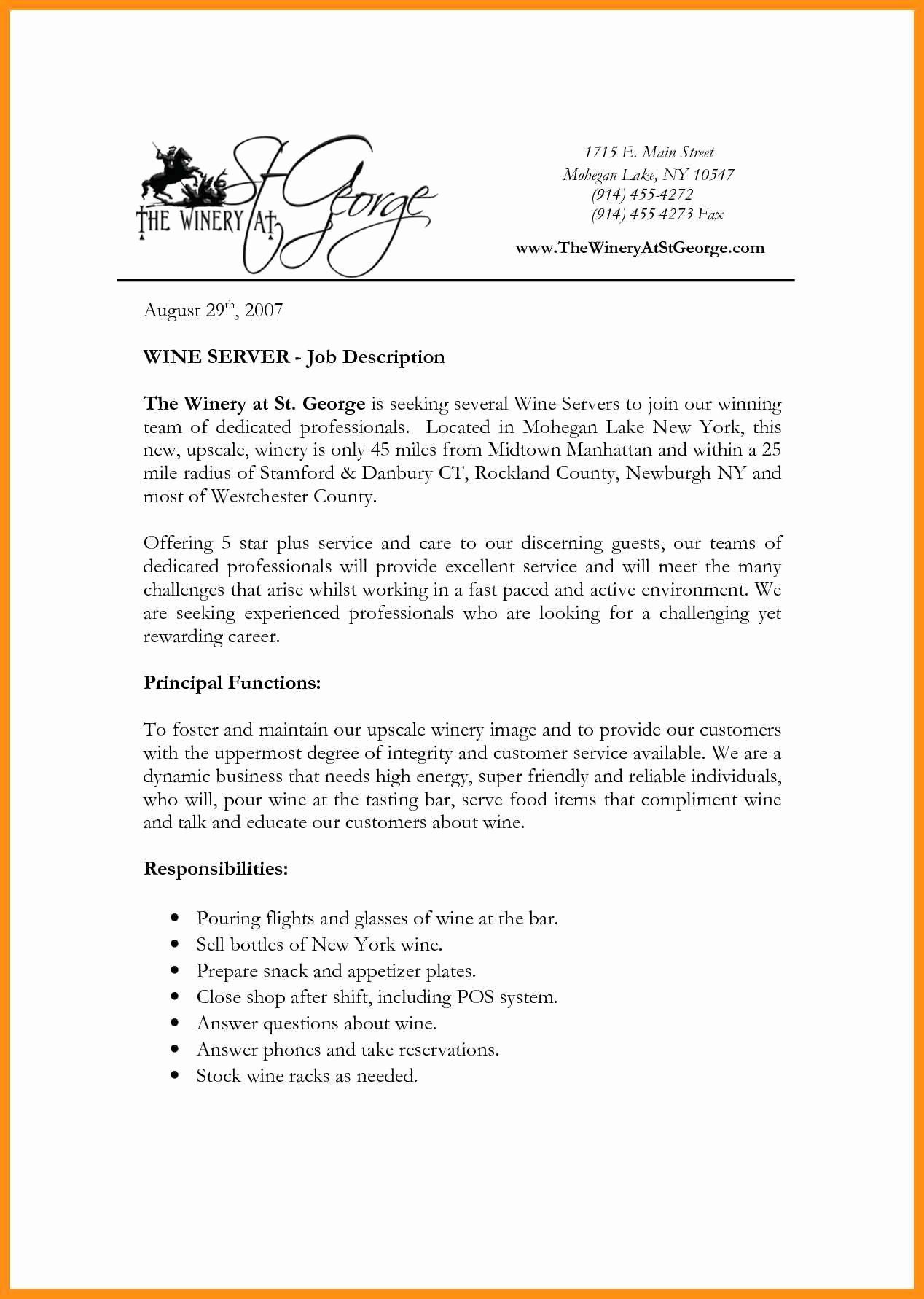 Hostess Job Description for Resume New Hostess Server Job Description
