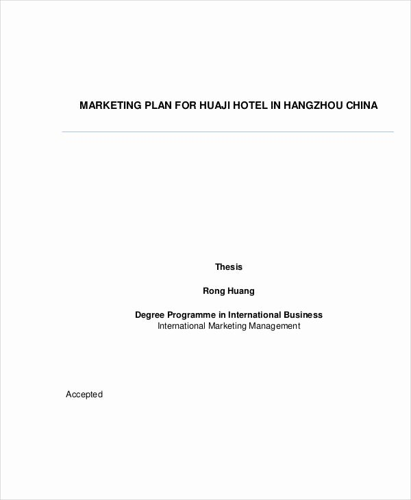 Hotel Business Plan Pdf Awesome 24 Marketing Plans In Pdf
